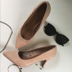 Faux suede heels